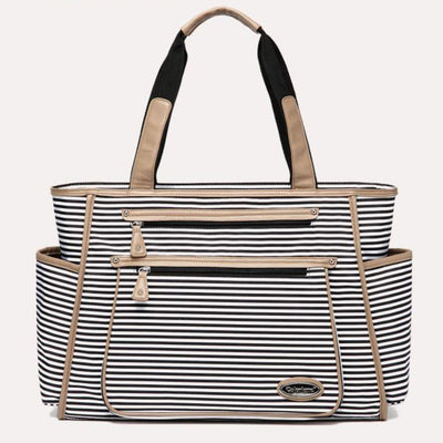 International High-End Fashion Colorland Black White Stripes Maternity Baby Diaper Bag Organizer