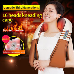 U Shape Electrical Back Neck Shoulder Body Massager Infrared Heated Kneading
