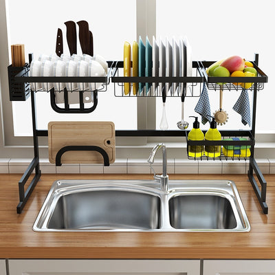 Contemporary Stylish Black Stainless Steel Stylish Dish Rack - Amazing Vanity Allure
