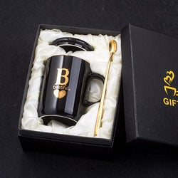 400ml Creative Ceramic Mug In The First Letter Of Your Name With Gold Finger Print - Amazing Vanity Allure