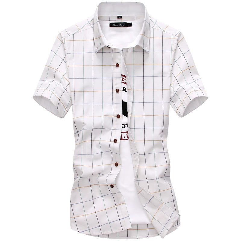 plaid classic casual cotton shirt half sleeve