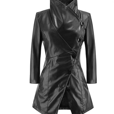 Women Medium-long sleeves Coat autumn winter large lapel leather Temperament Buttons PU jacket