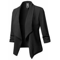 Women Black Blazers Cardigan Coat Long Sleeve