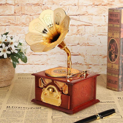 Antique Wooden Music Box Metal Phonograph Hand Crank Music Boxes - Amazing Vanity Allure