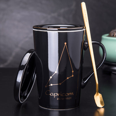 Creative Gold Printed Black Coffee Mug With Your Zodiac Constellation Tea Cup With Tea Strainer Comes With Lid and Spoon as Gift amvaal
