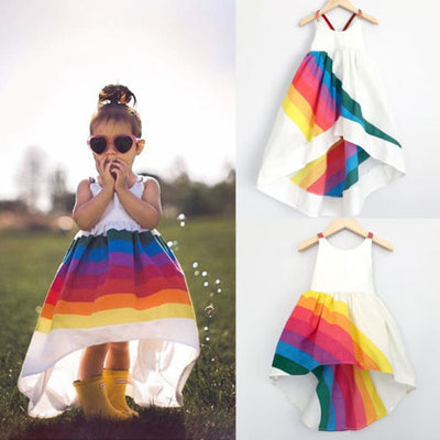 Cute Sleeveless Backless Strap Rainbow Beach Tutu Dresses - Amazing Vanity Allure