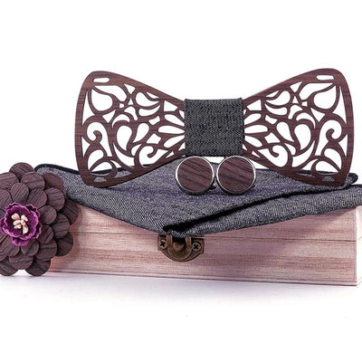 Luxury Gentleman Groom Wooden Party Bow Tie Gift Set
