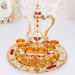 Retro Palace Wine Set Wedding Zinc Alloy Metal Gold/Silver And White