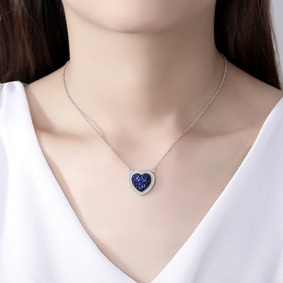 Minimalist New Luxury Crystal Necklace 925 Sterling Silver Heart Of The Sea Pendant