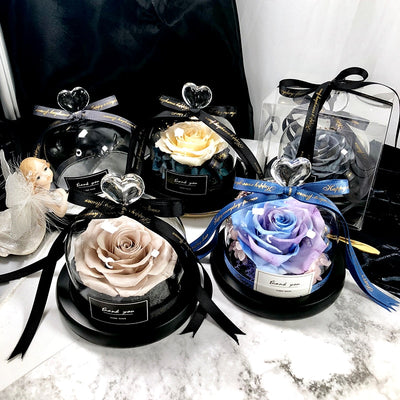 Eternal Exclusive Rose in Glass Dome The Beauty and Beast Rose Romantic Gift Set - Amazing Vanity Allure