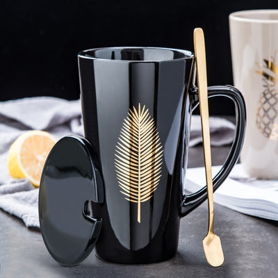 European Style Large Capacity Personal Mug With Lid And Spoon - Amazing Vanity Allure