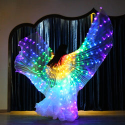 Rainbow Color Led Light Luminous Costumes Party Show Isis Wings Dancewear