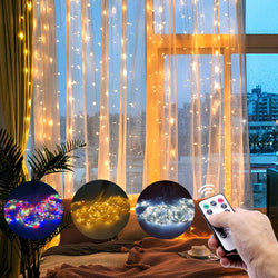 LED Icicle Curtain String Lights 2021 New Year Garland Christmas Decorations