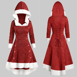 Christmas dress Vintage Strappy Insert Mock Button Hooded High Low Midi Dress