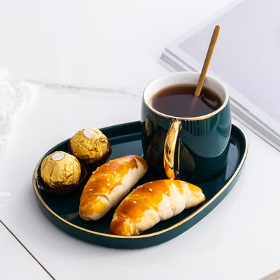 luxury coffee cups and saucers with spoon
