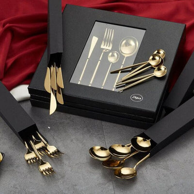Gold Cutlery Set 18/10 Stainless Steel Dinnerware Knife Fork with Gift Box