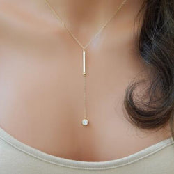 Simple jewelry crystal Bar pendant necklace