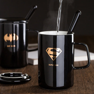 Creative Justice League  Ceramic Mug With Lid With Spoon - Amazing Vanity Allure