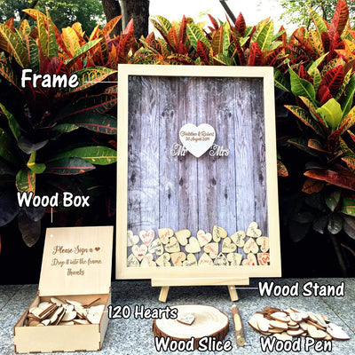 Wedding Guest Book 120pcs Small Wood Hearts