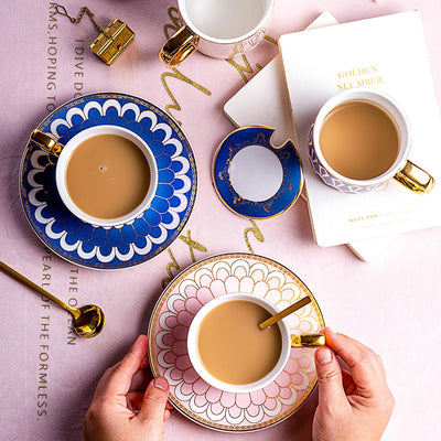 Royal Ceramic Coffee Mug and Saucer With Stainless Steel Spoon Gift Package