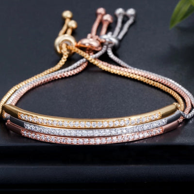 amvaal Feminia Adjustable Bracelet Ring for Women With Captivate Bar Slider  Brilliant Rose Gold Silver Color