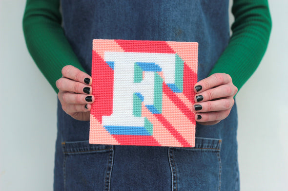 Letter 'F' Needlepoint Kit - Hannah Bass