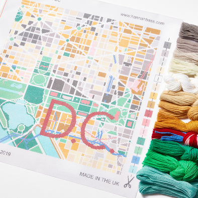 Washington D.C. City Map Needlepoint Kit - Hannah Bass