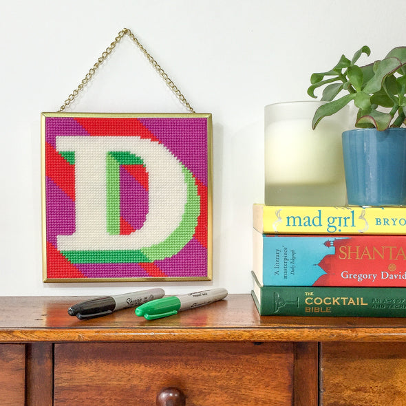 Purple 'D' Alphabet Needlepoint Kit