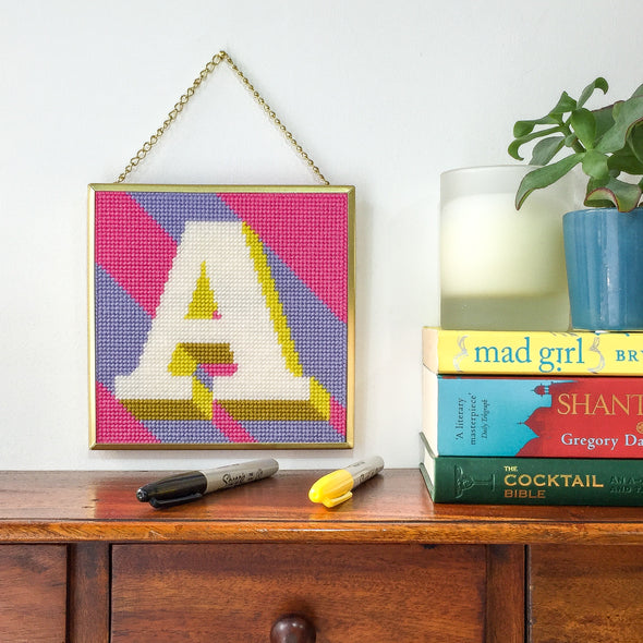 Pink 'A' Alphabet Needlepoint Kit
