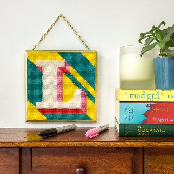 Yellow 'L' Alphabet Needlepoint Kit