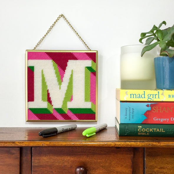 Pink 'M' Alphabet Needlepoint Kit
