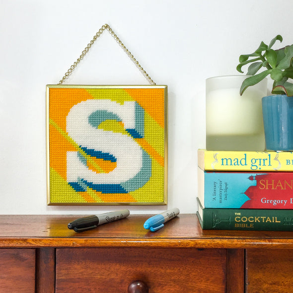 Yellow 'S' Alphabet Needlepoint Kit
