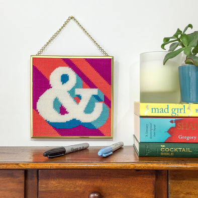 Coral Ampersand '&' Alphabet Needlepoint Kit
