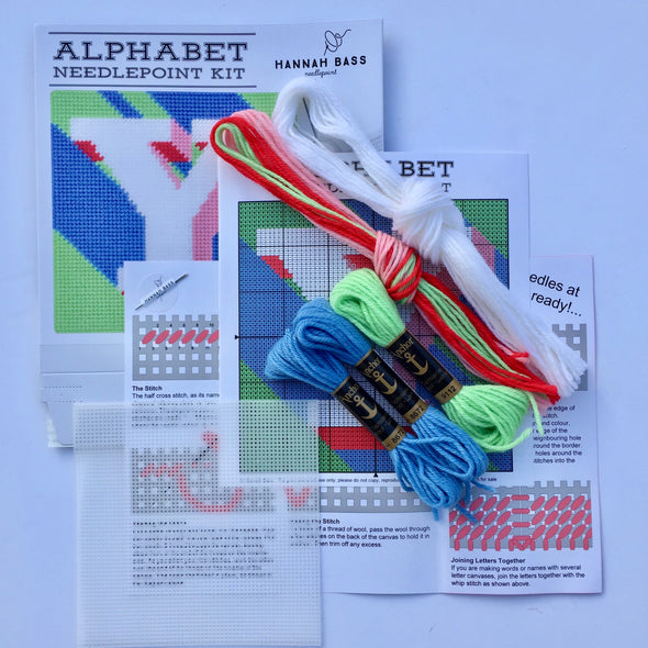 Letter 'Y' Needlepoint Kit - Hannah Bass