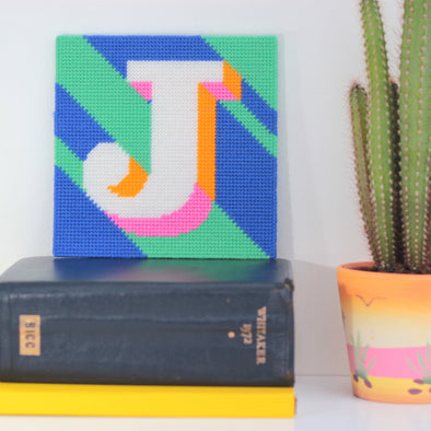 Letter 'J' Needlepoint Kit - Hannah Bass