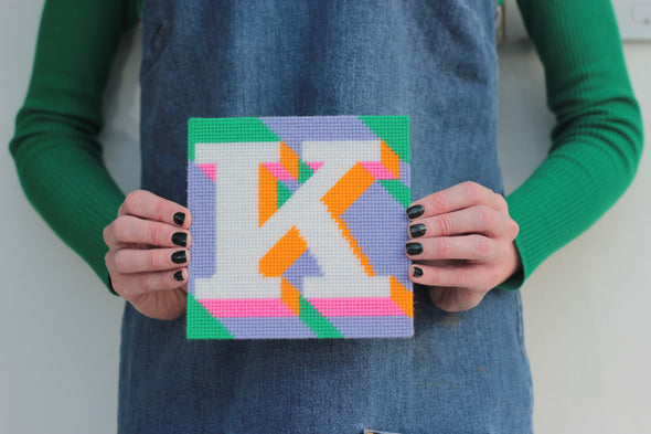 Letter 'K' Needlepoint Kit - Hannah Bass