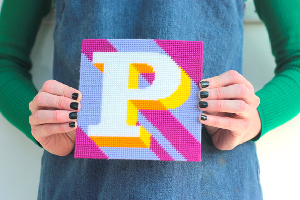 Letter 'P' Needlepoint Kit - Hannah Bass
