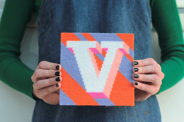 Letter 'V' Needlepoint Kit - Hannah Bass
