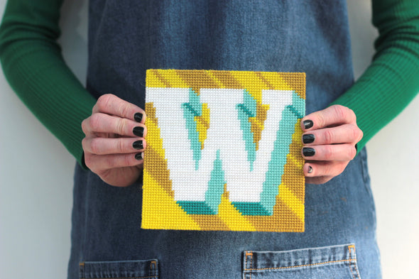Letter 'W' Needlepoint Kit - Hannah Bass