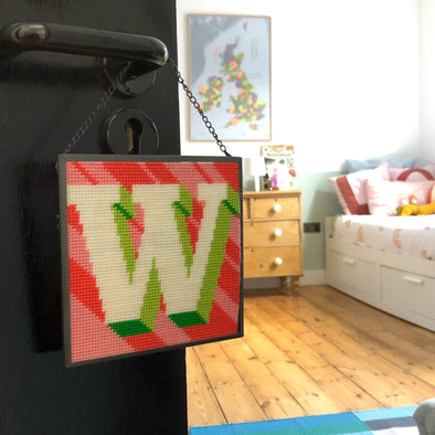 Coral 'W' Alphabet Needlepoint Kit