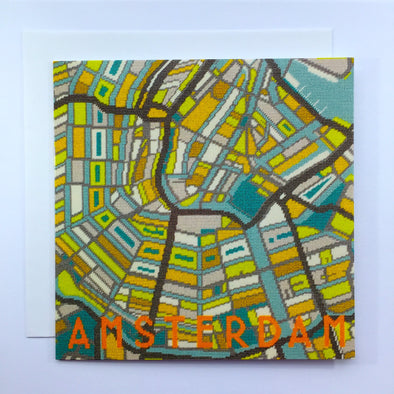 Amsterdam City Map Greeting Card - Hannah Bass