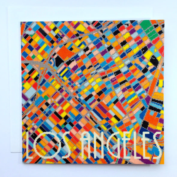 Los Angeles City Map Greeting Card - Hannah Bass