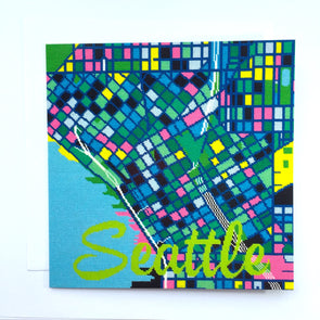 Seattle City Map Greeting Card - Hannah Bass