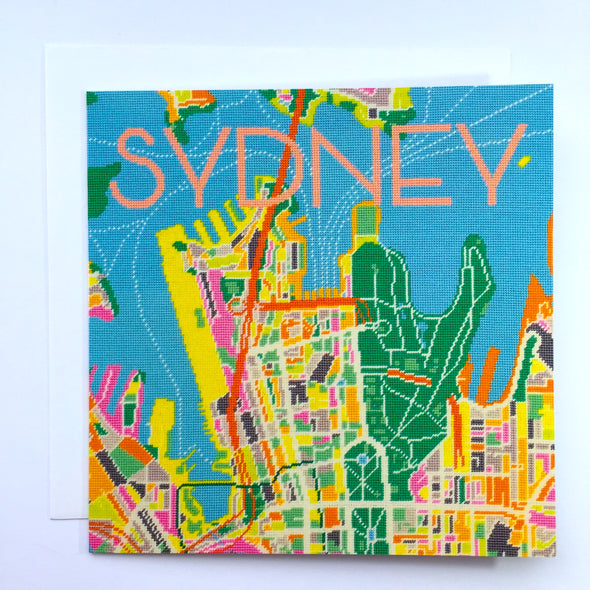 Sydney City Map Greeting Card - Hannah Bass