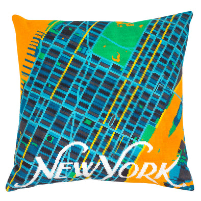 New York Orange City Map Needlepoint Kit - Hannah Bass