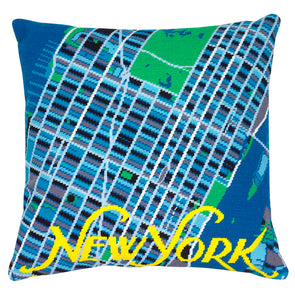 New York Blue City Map Needlepoint Kit - Hannah Bass