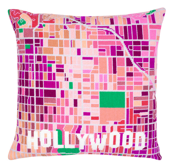Hollywood White City Map Needlepoint Kit - Hannah Bass