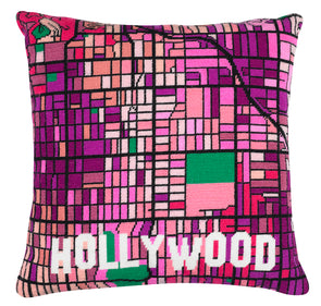Hollywood Black City Map Needlepoint Kit - Hannah Bass