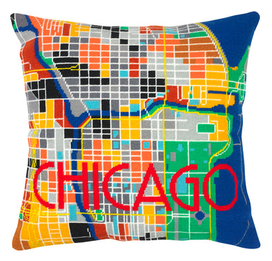 Chicago City Map Needlepoint Kit - Hannah Bass