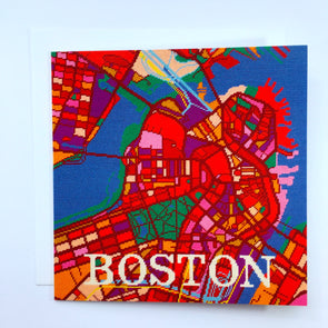 Boston City Map Greeting Card - Hannah Bass